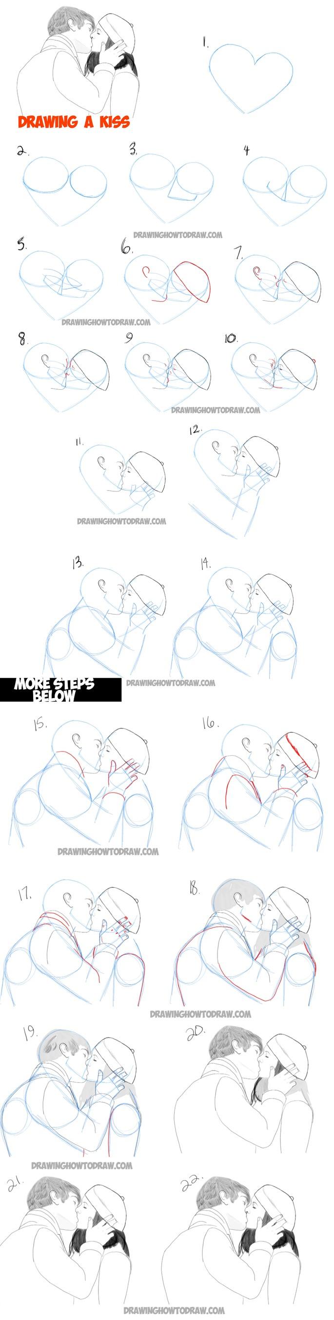 amor dibujo dibujar enamorado facil  beso pareja besandose paso a paso a partir de un corazón
