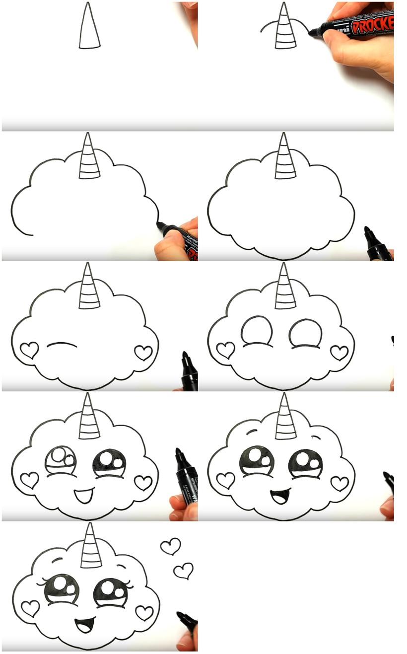 dibujos fáciles de nubes unicornio tutorial paso a paso para niños para pintar kawaii