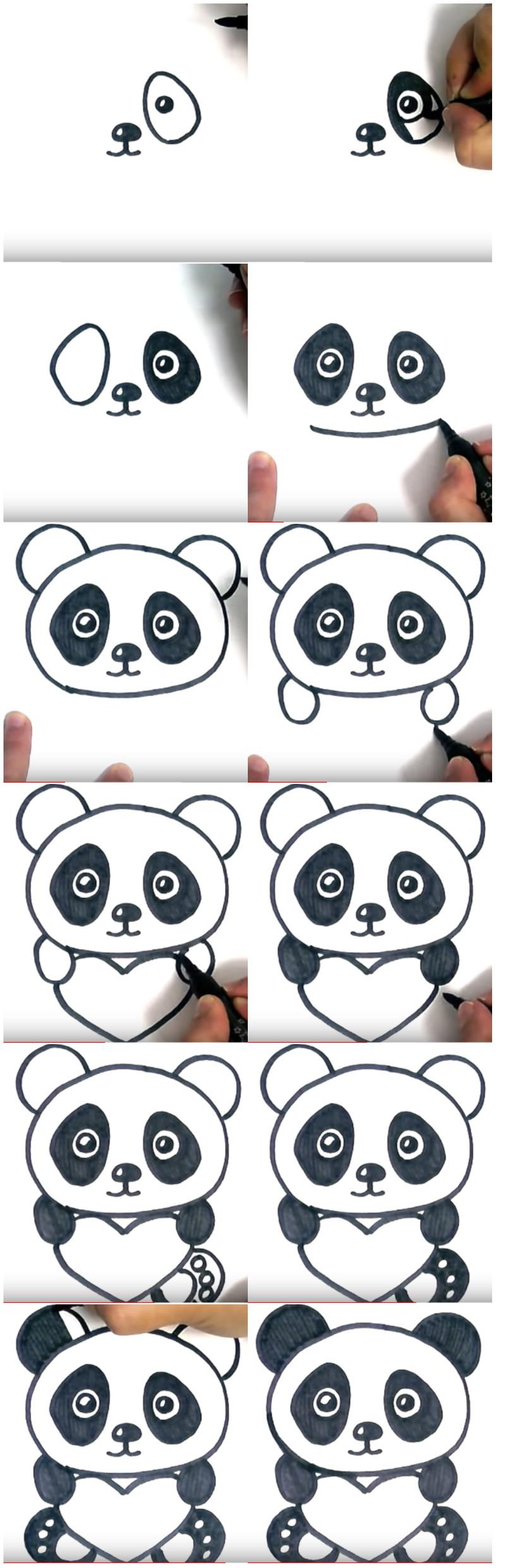 amor dibujo dibujar enamorado fácil oso panda tierno con corazón