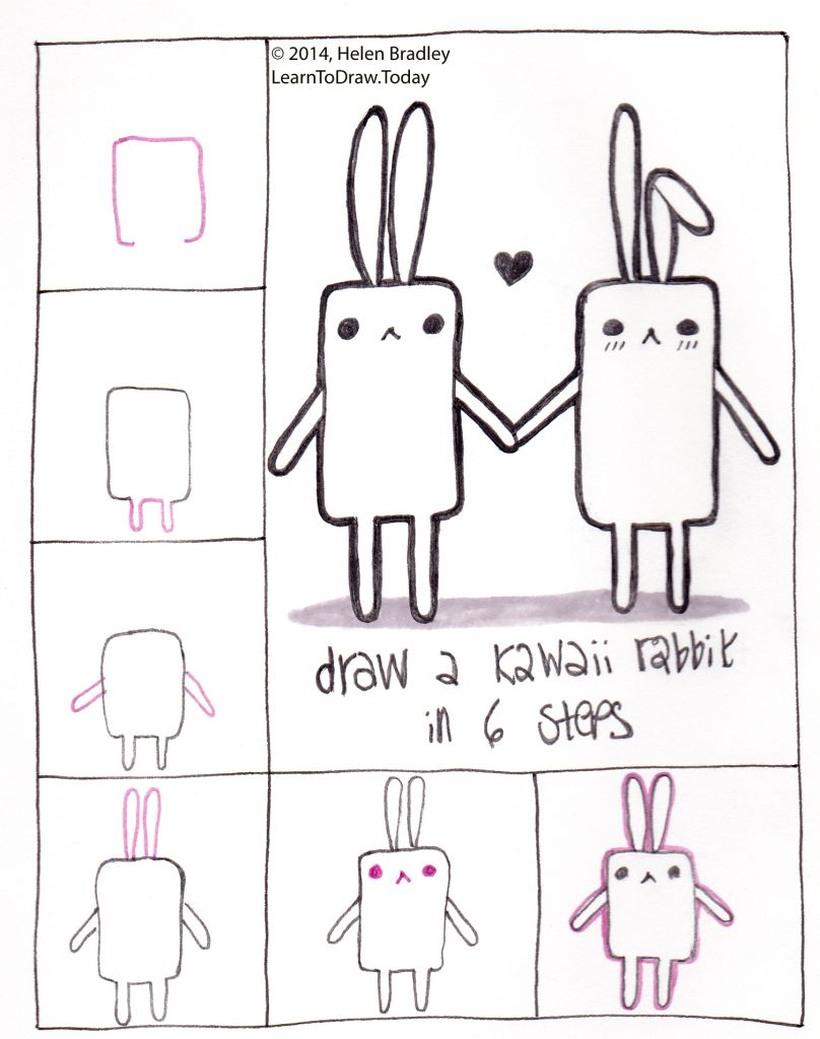 amor dibujo dibujar enamorado facil pareja de conejos kawaii de la mano con corazón conejitos paso a paso