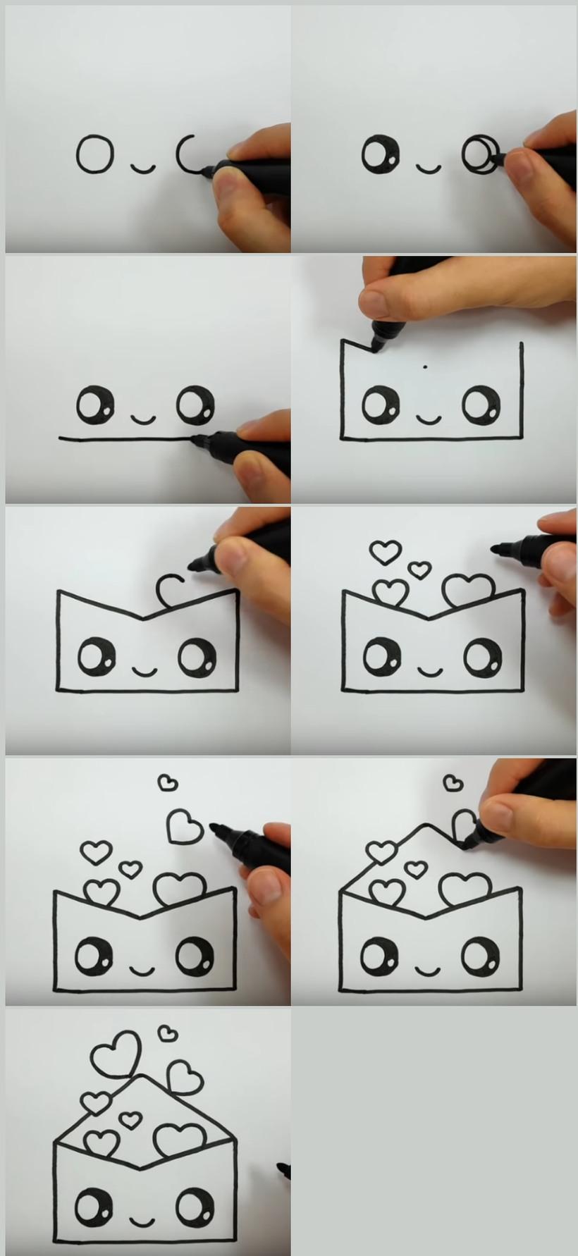 amor dibujo dibujar enamorado facil carta con corazones paso a paso