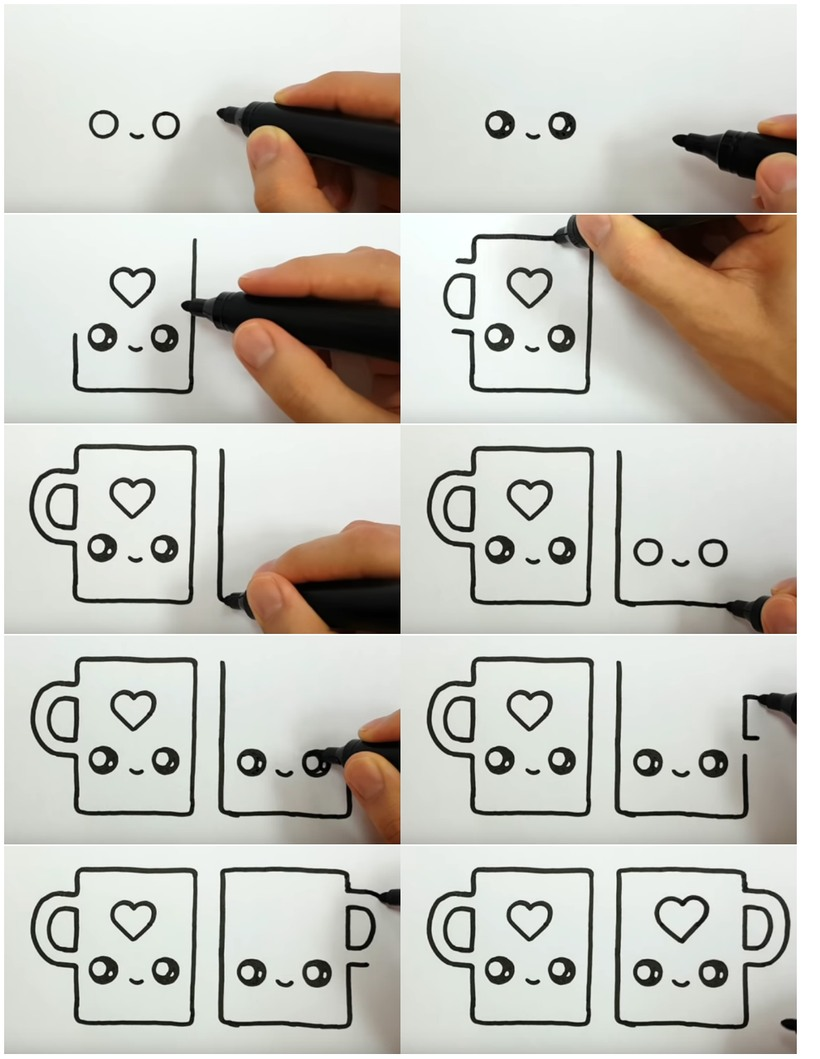 amor dibujo dibujar enamorado facil tazas kawaii con corazones fáciles