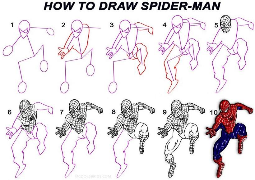 dibujos fáciles spiderman paso a paso animados personajes famosos dibujar este personaje cartoon heroe