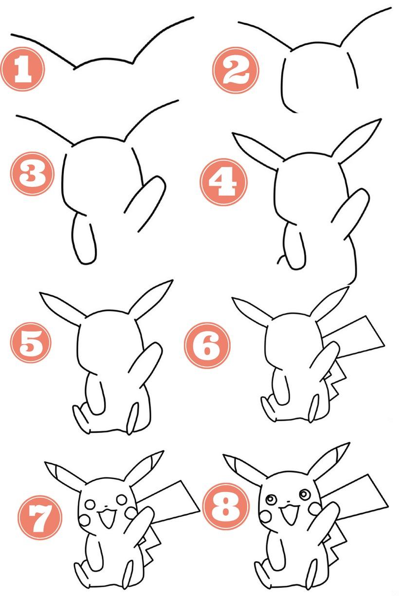 dibujos fáciles pikachu paso a paso  animados personajes famosos dibujar este personaje cartoon heroe