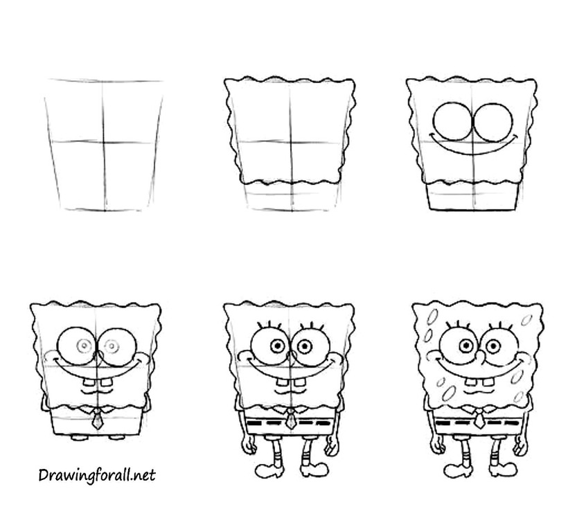 dibujos fáciles bob esponja paso a paso animados personajes famosos dibujar este personaje cartoon heroe