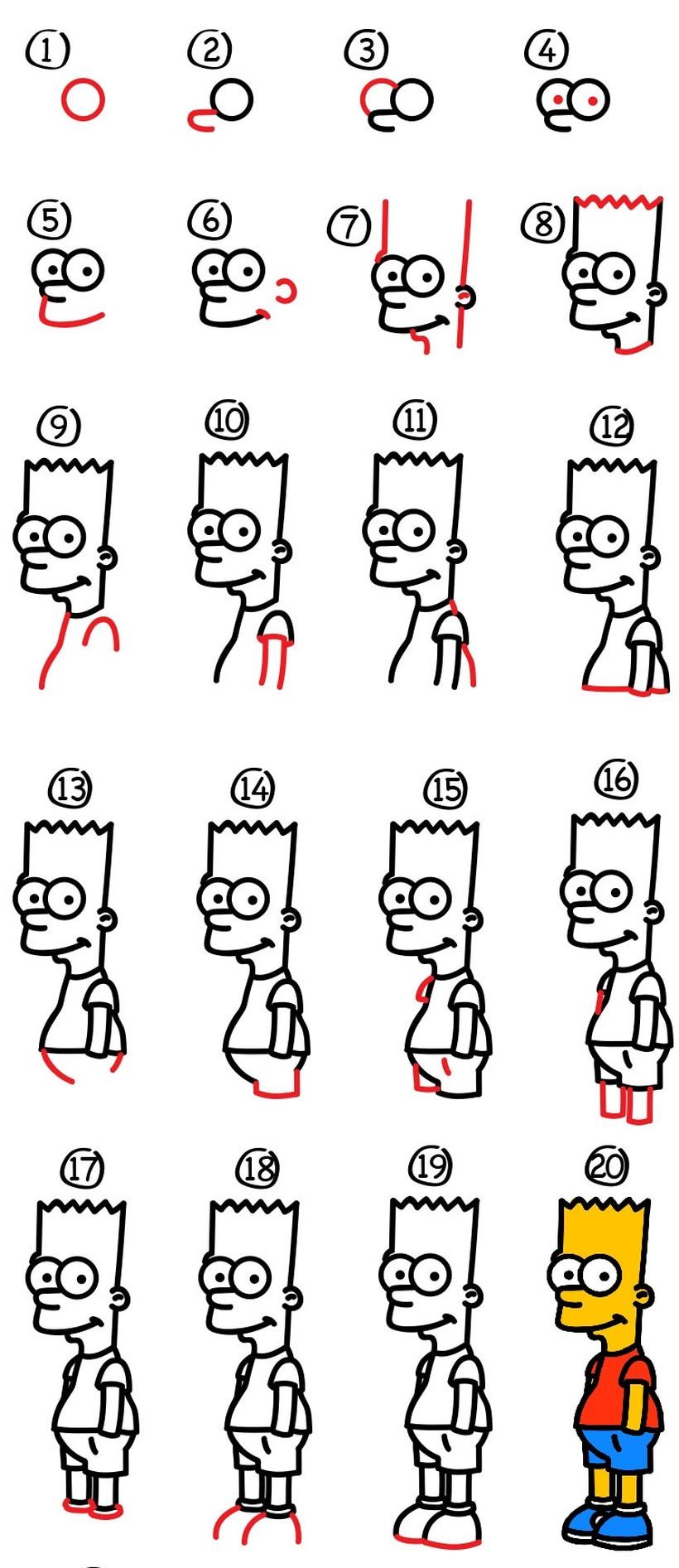dibujos fáciles bart simpson paso a paso animados famosos dibujar este personaje cartoon