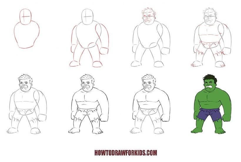 dibujos fáciles Hulk paso a paso personajes famosos animados dibujar este personaje cartoon heroe