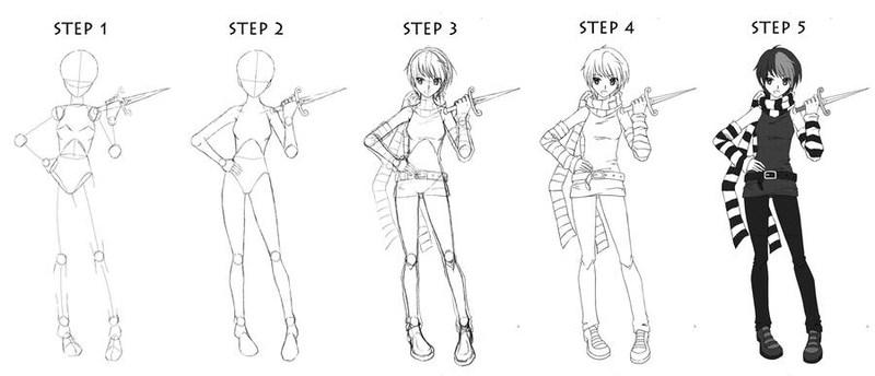 chica animé dibujar cuerpos personaje dibujos fáciles paso a paso a lápiz