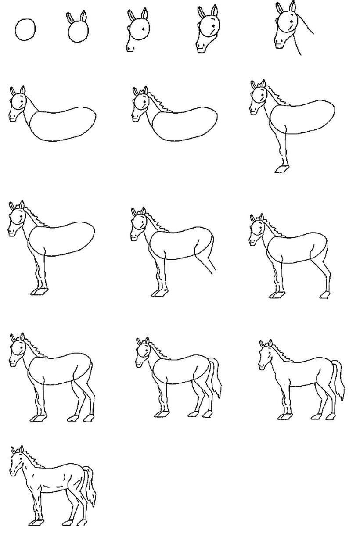caballo caballitos dibujos fáciles a lápiz paso a paso
