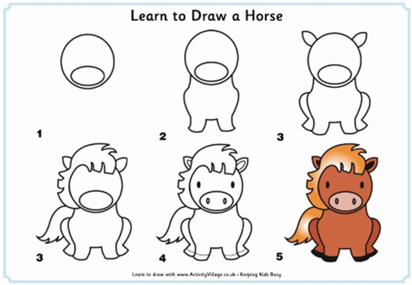 caballo pony caballitos poni dibujos fáciles a lápiz paso a paso