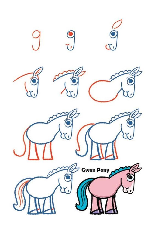 caballos pony caballitos poni dibujos fáciles a lápiz paso a paso para colorear