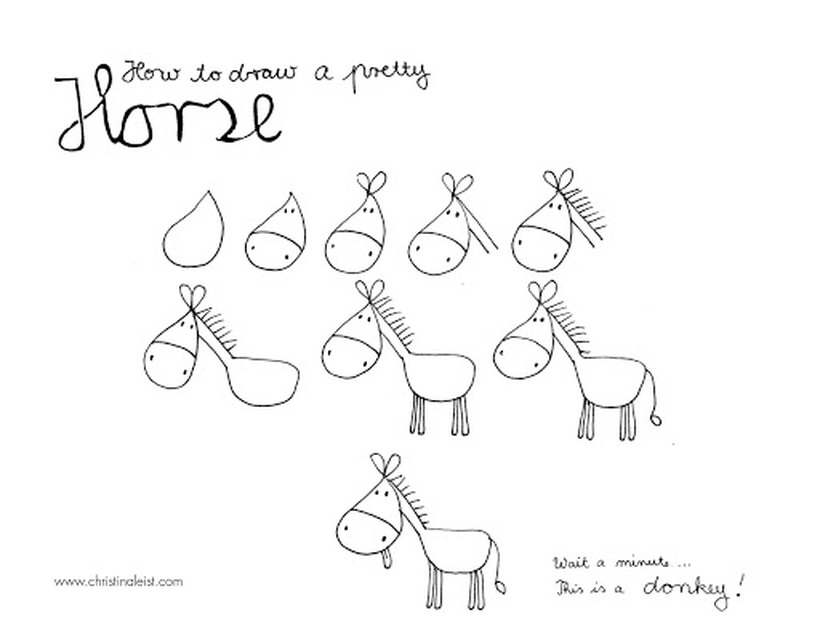 caballos caballitos dibujos fáciles a lápiz paso a paso simpático hermoso