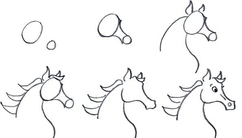 caballos caballitos dibujos fáciles a lápiz paso a paso