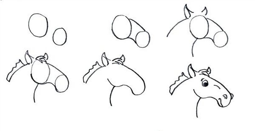 cabeza de caballo caballito dibujos fáciles a lápiz paso a paso