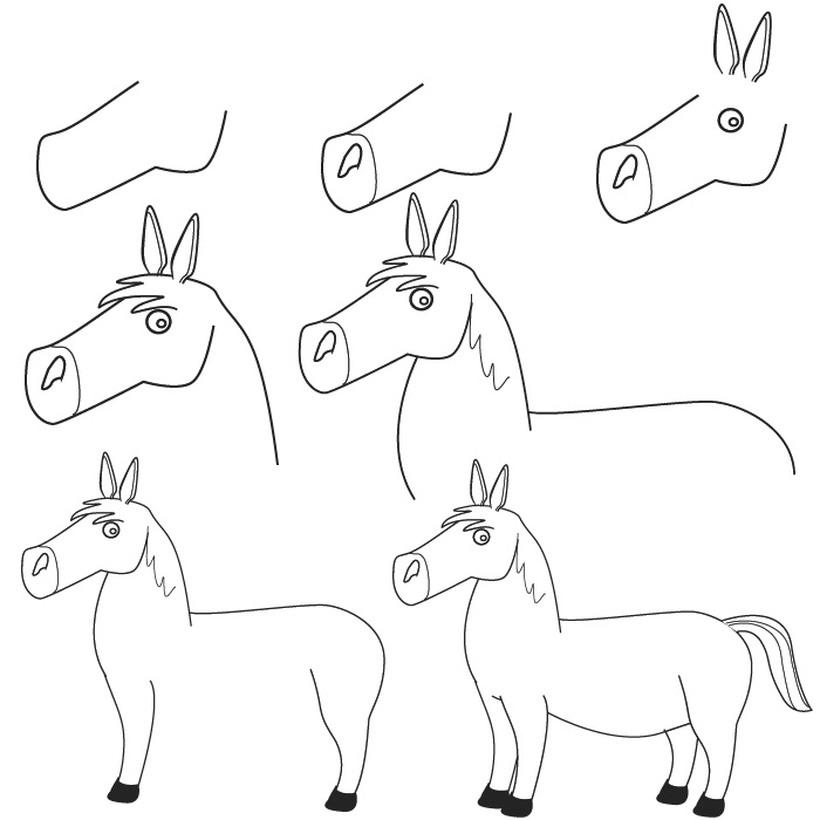 caballos caballitos dibujos fáciles guía paso a paso para hacer a lápiz con niños