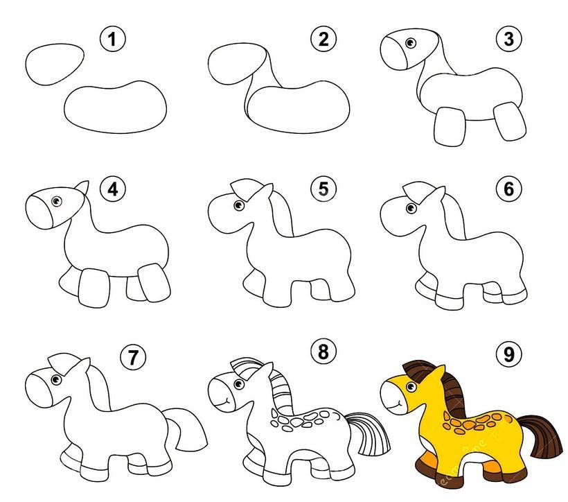 caballos pony caballitos poni dibujos fáciles a lápiz paso a paso para pintar