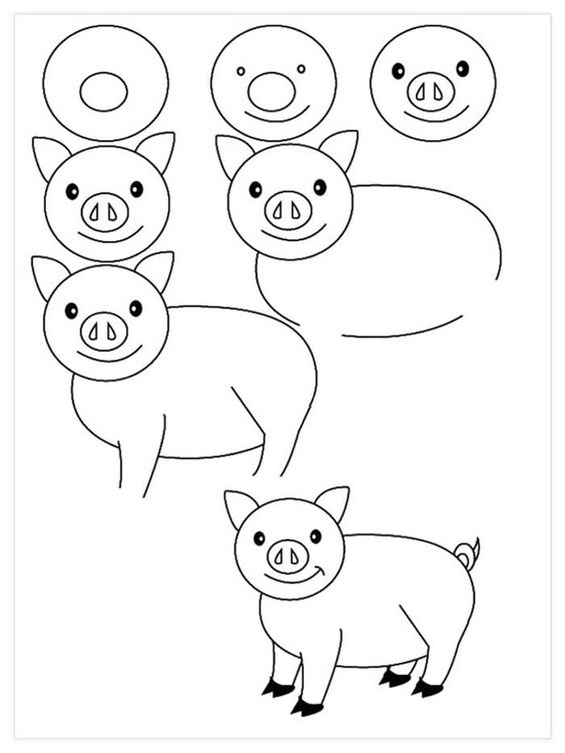 cerdo cerdito chancho puerco dibujos fáciles de animal de granja  para hacer a lápiz con niños paso a paso