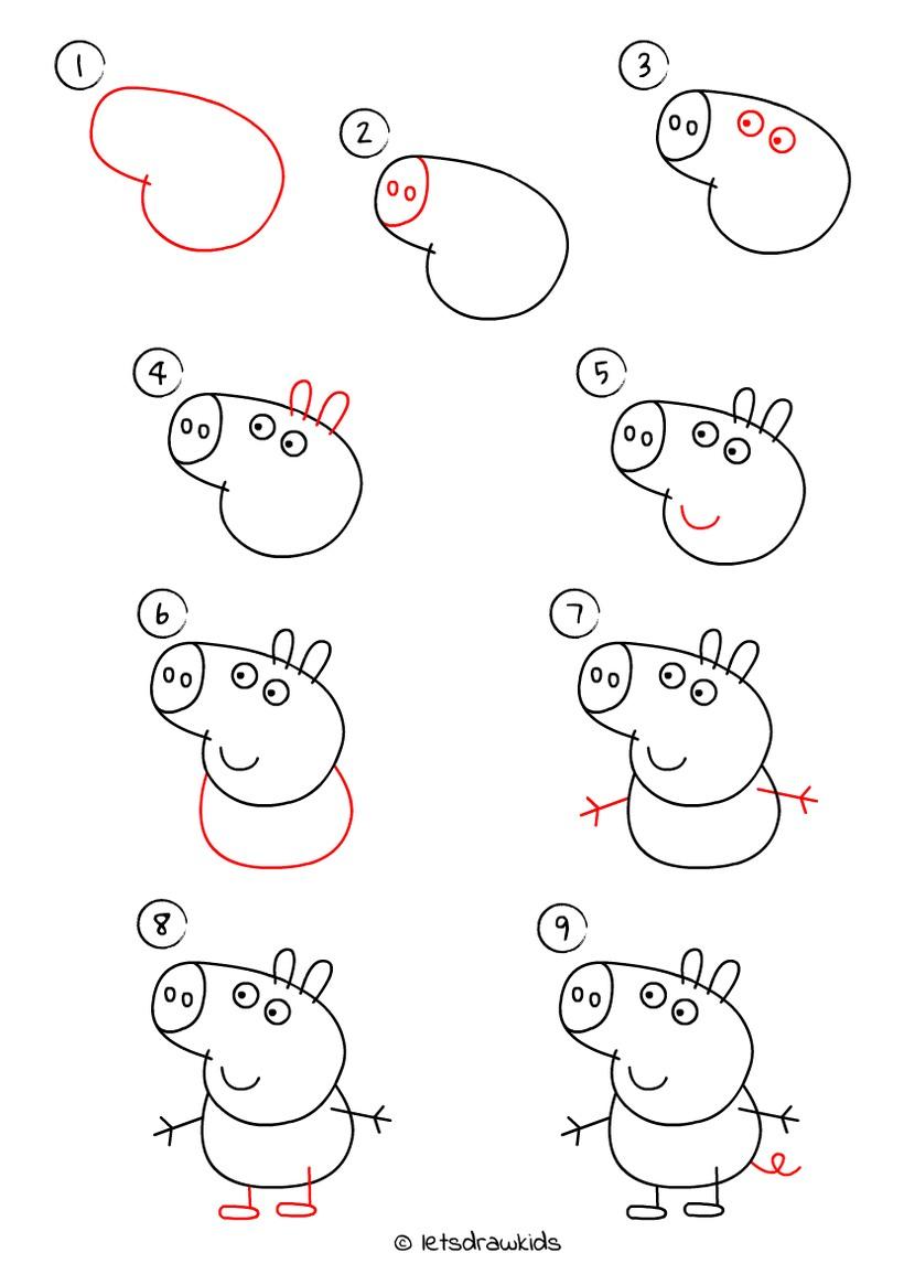 cerdo cerdito chancho puerco dibujos fáciles de animales para hacer a lápiz con niños paso a paso peppa pig