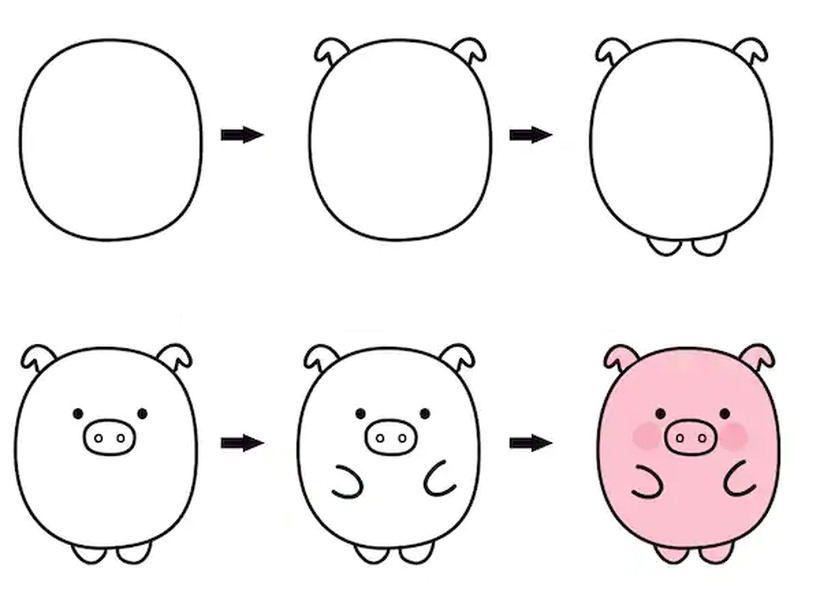 cerdo cerdito chancho puerco tierno dibujos fáciles de animales para hacer a lápiz con niños paso a paso y pintar