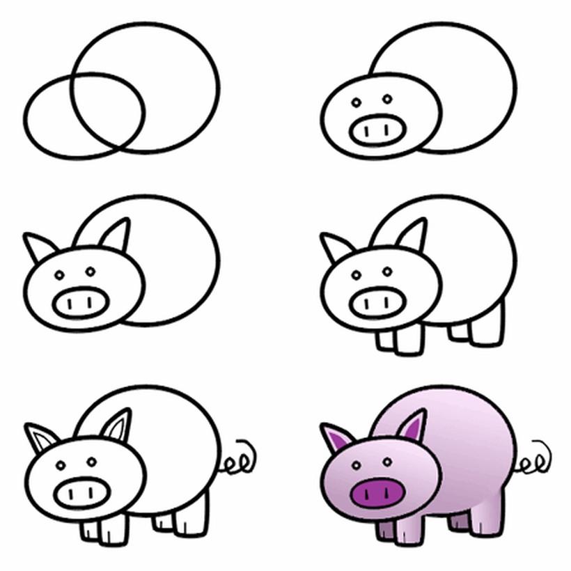 cerdo cerdito chancho puerco dibujos fáciles de animales de granja para hacer a lápiz con niños paso a paso