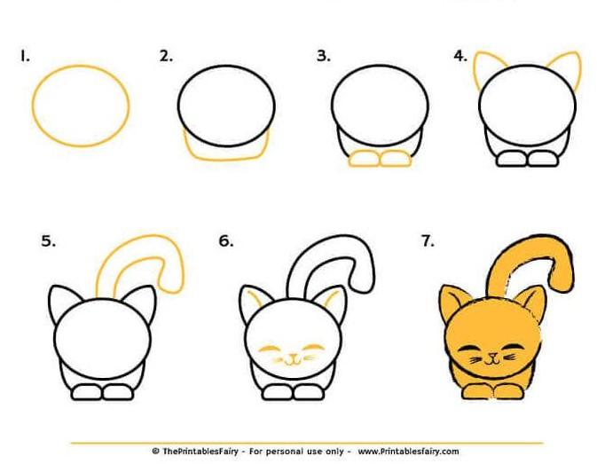 dibujo fácil de animal mascota a lápiz paso a paso gatos gatitos