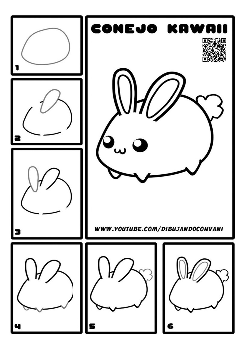 conejo conejito dibujos fáciles de animales para hacer a lápiz con niños paso a paso