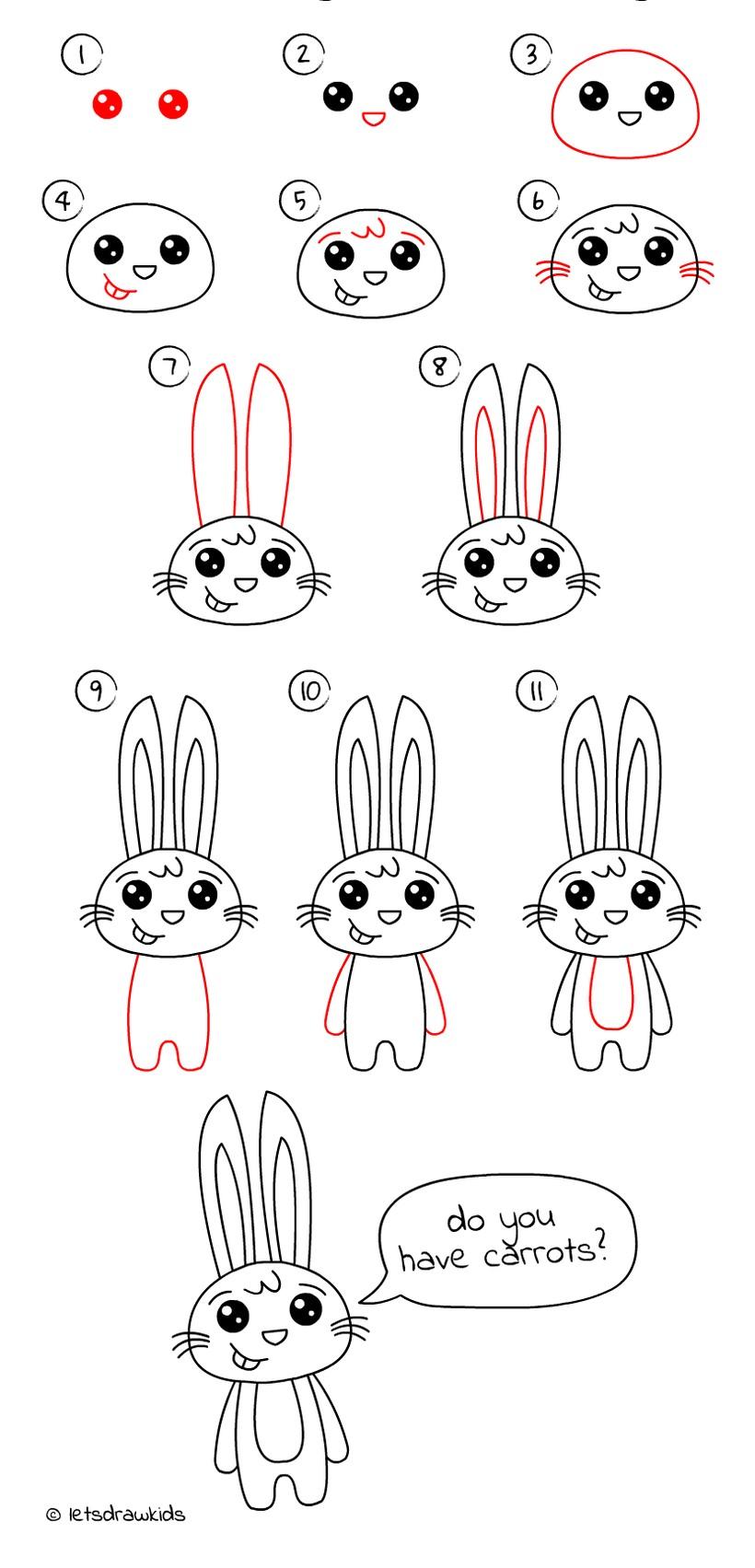 conejo dibujos fáciles de animales para hacer a lápiz con niños paso a paso