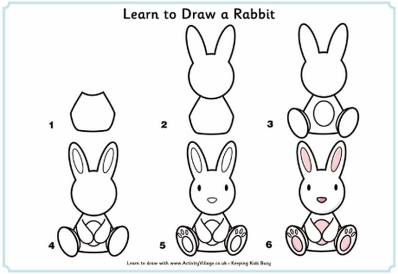 conejo dibujo fácil de animal de granja para hacer a lápiz con niños paso a paso