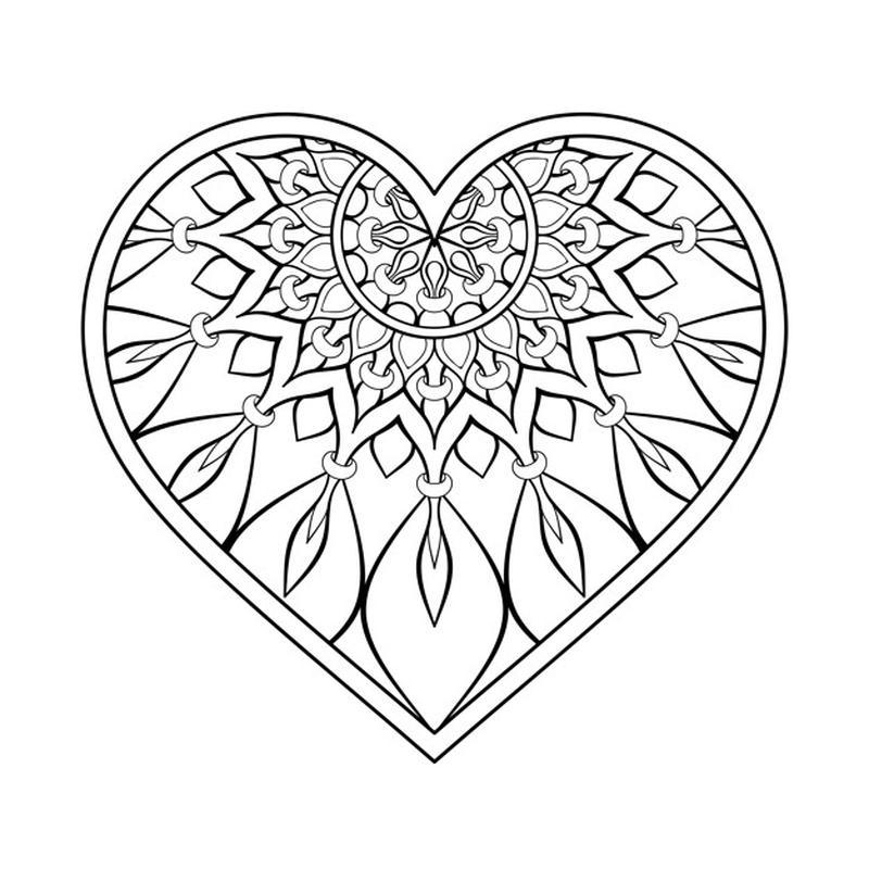 mandala con forma de corazón para imprimir y colorear