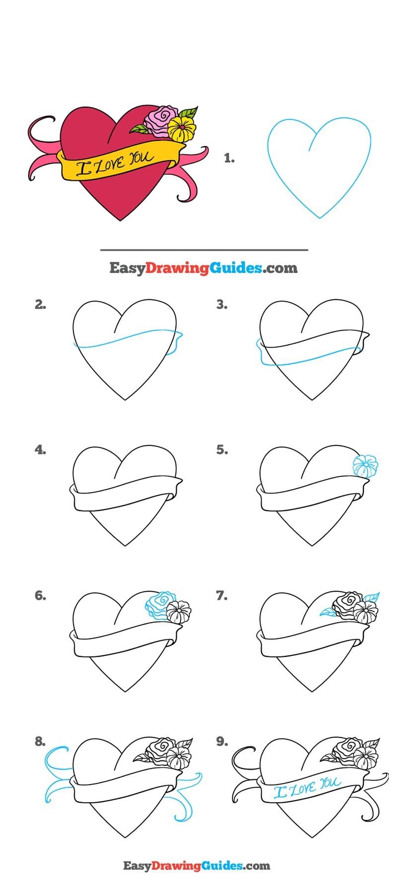 dibujos fáciles de corazones a lápiz paso a paso con la frase i love you flores y cartel