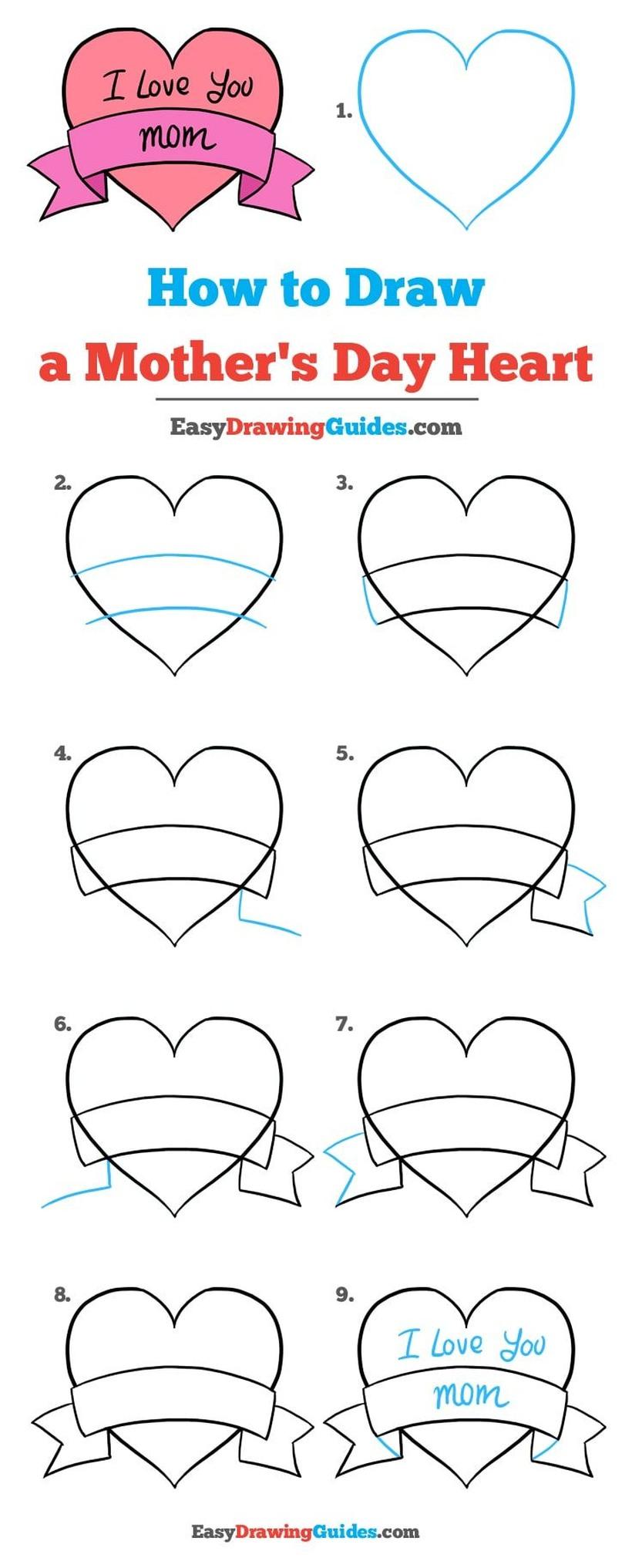 dibujos fáciles de corazones a lápiz paso a paso con frase i love you mom palabra amor