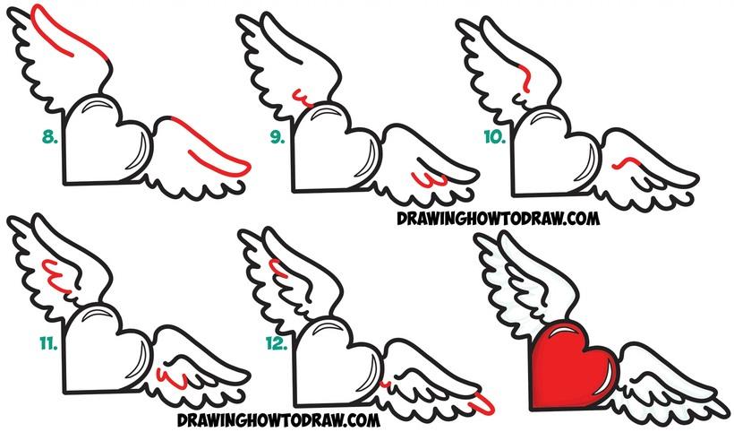 dibujos fáciles de corazones con alas a lápiz paso a paso alado