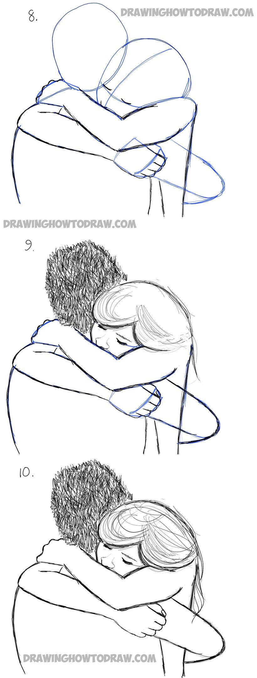 dibujos fáciles con corazones a lápiz paso a paso pareja abrazo triste sad corazón roto
