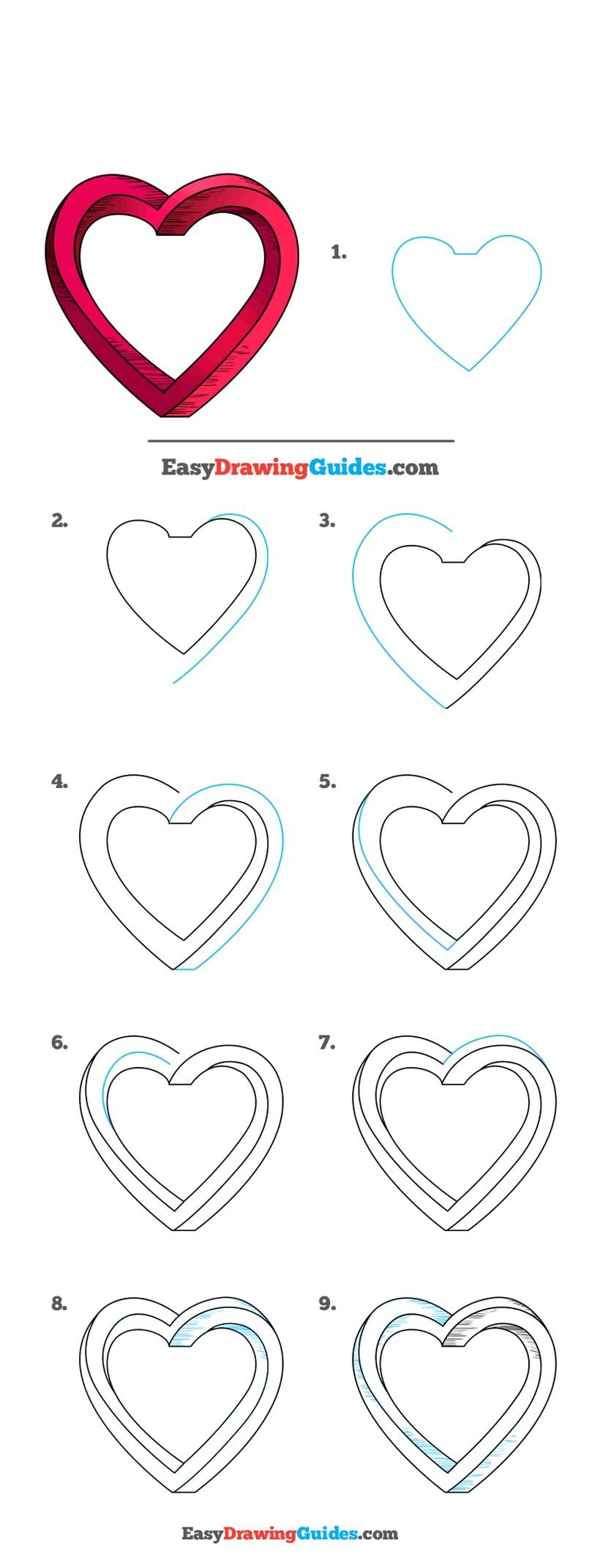 corazones amor dibujo dibujar facil un corazón bonito paso a paso