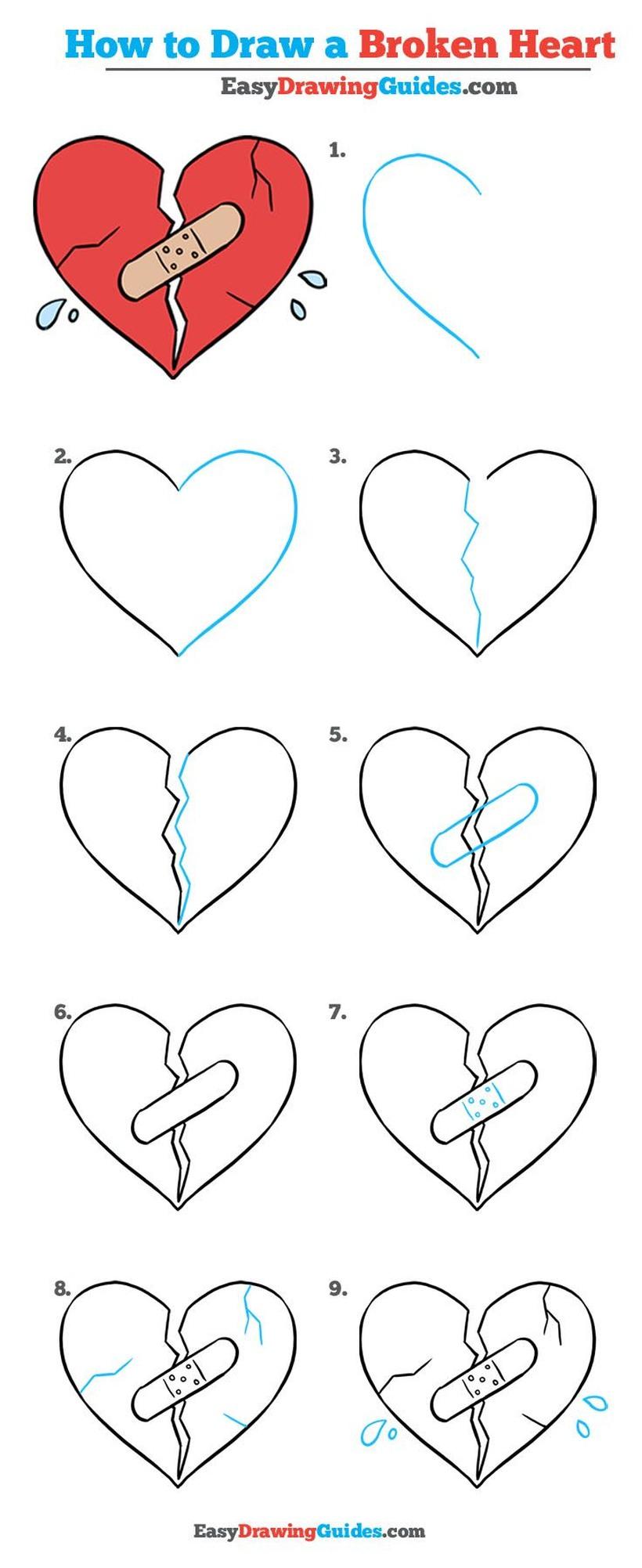 dibujos fáciles de corazones rotos a lápiz paso a paso corazón herido con venda sad
