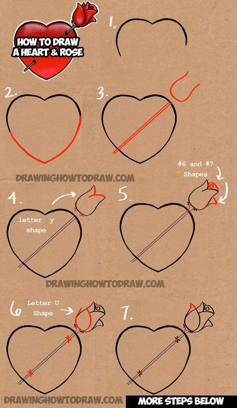 dibujos fáciles con corazones con rosas a lápiz paso a paso para pintar colorear
