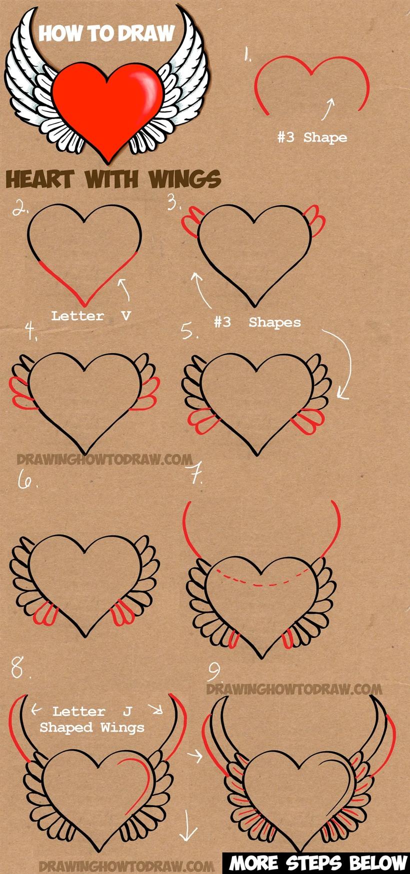 dibujos fáciles de corazon con alas alado a lápiz paso a paso