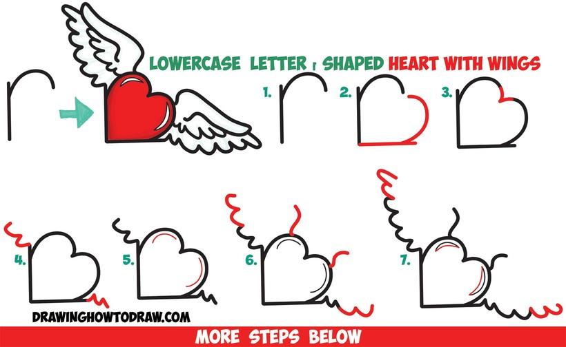 corazones fáciles con alas paso a paso corazón alado