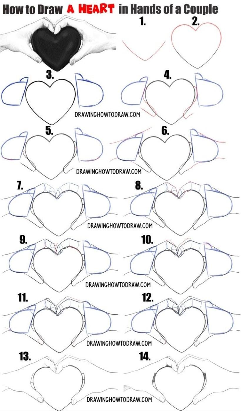 dibujar corazones con la mano paso a paso fácil