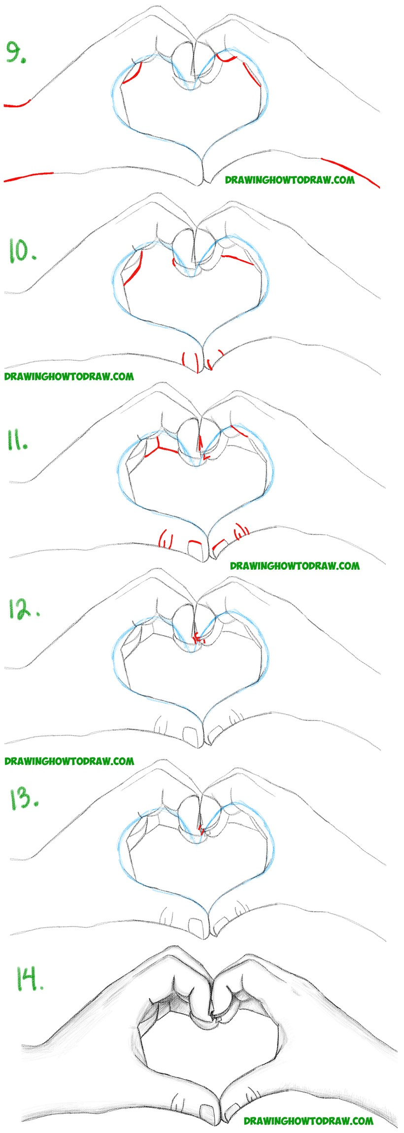 dibujar manos formando un corazón paso a paso a lápiz