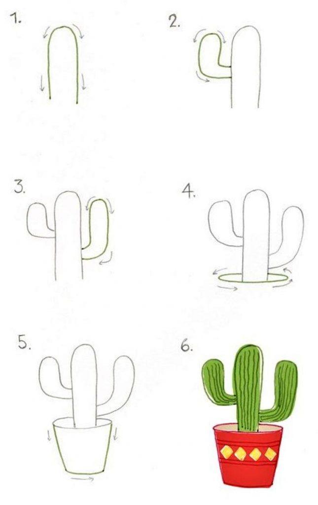 dibujos fáciles de cactus paso a paso