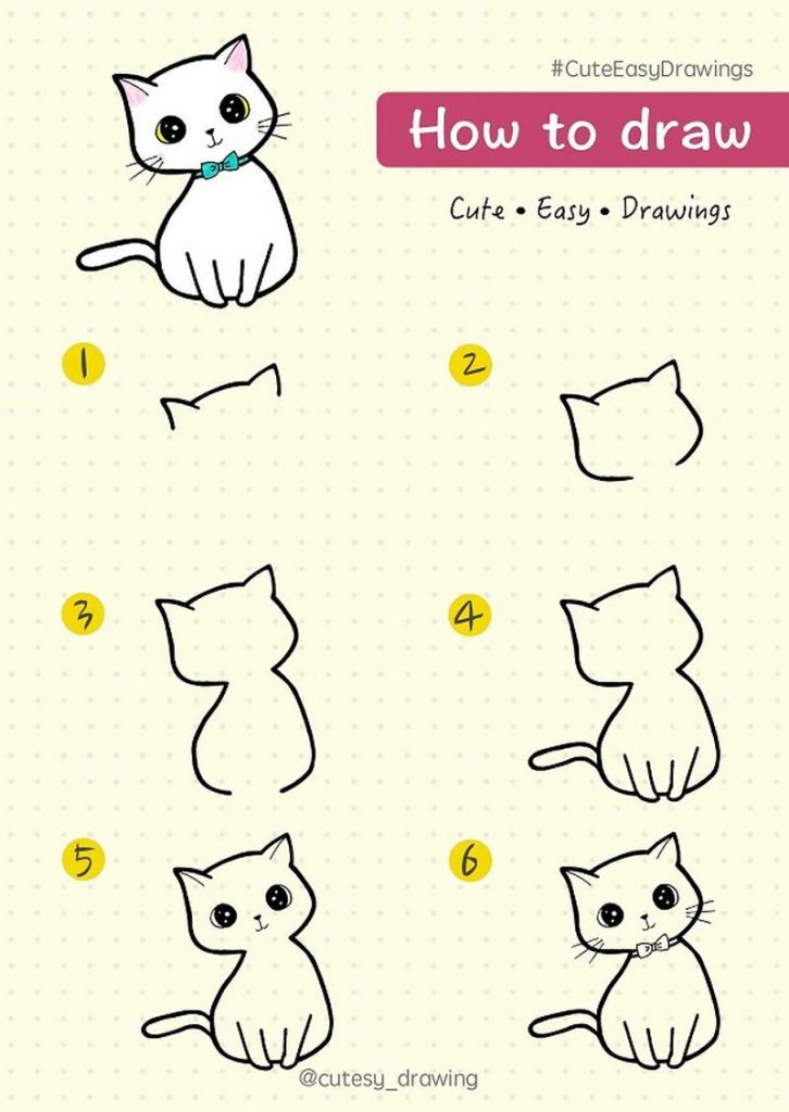 Dibujo fácil de tierno gatito kawaii guía paso a paso tutorial animales fáciles a lápiz