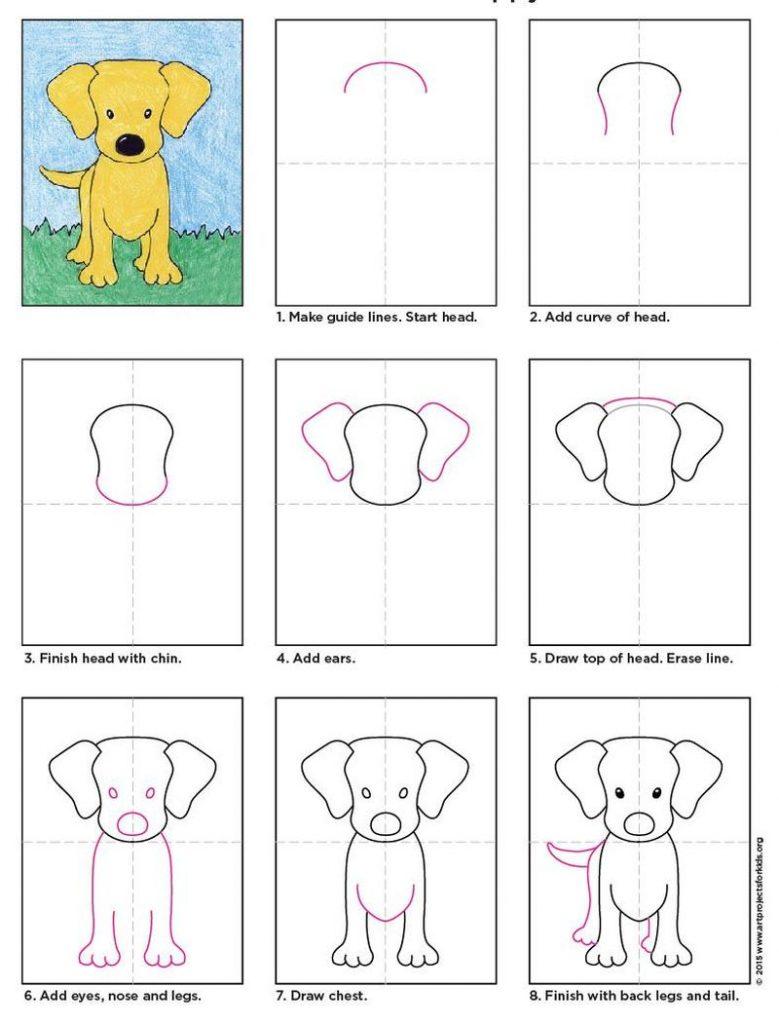 dibujos fáciles de cachorro de labrador paso a paso a lápiz para colorear