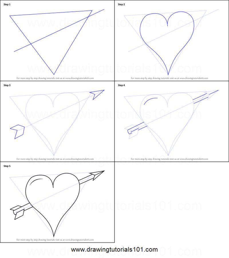 dibujos fáciles de corazones con flecha a lápiz paso a paso corazón flechado