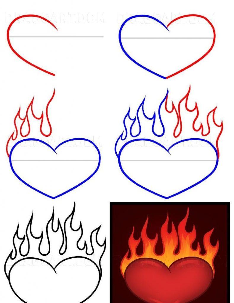 dibujos fáciles de corazón con fuego  a lápiz paso a paso