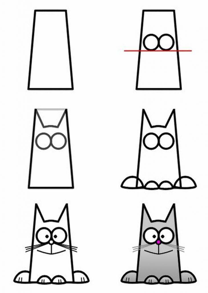 dibujo fácil de animal mascota a lápiz paso a paso para niños pequeños gato gatito