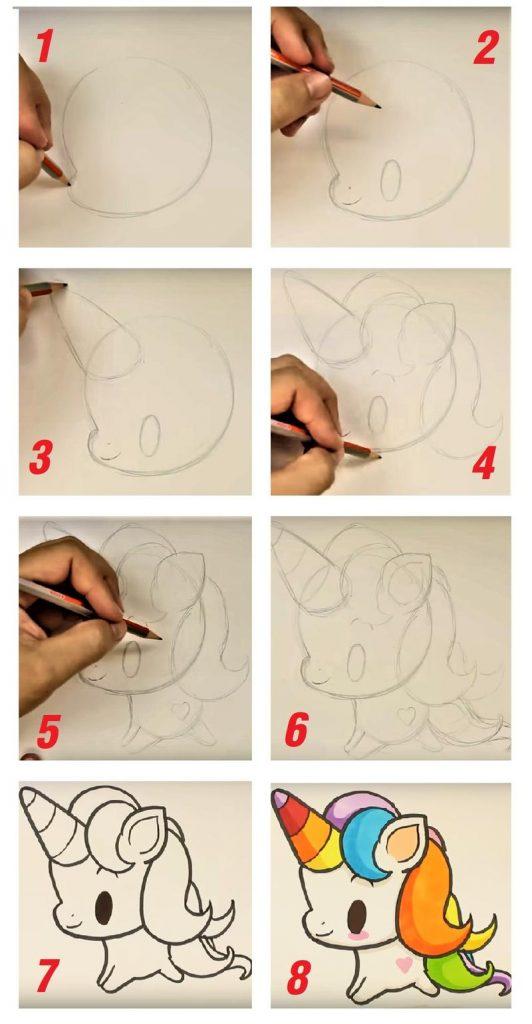 dibujo fácil de unicornio kawaii paso a paso a lápiz para pintar con rotuladores hermoso