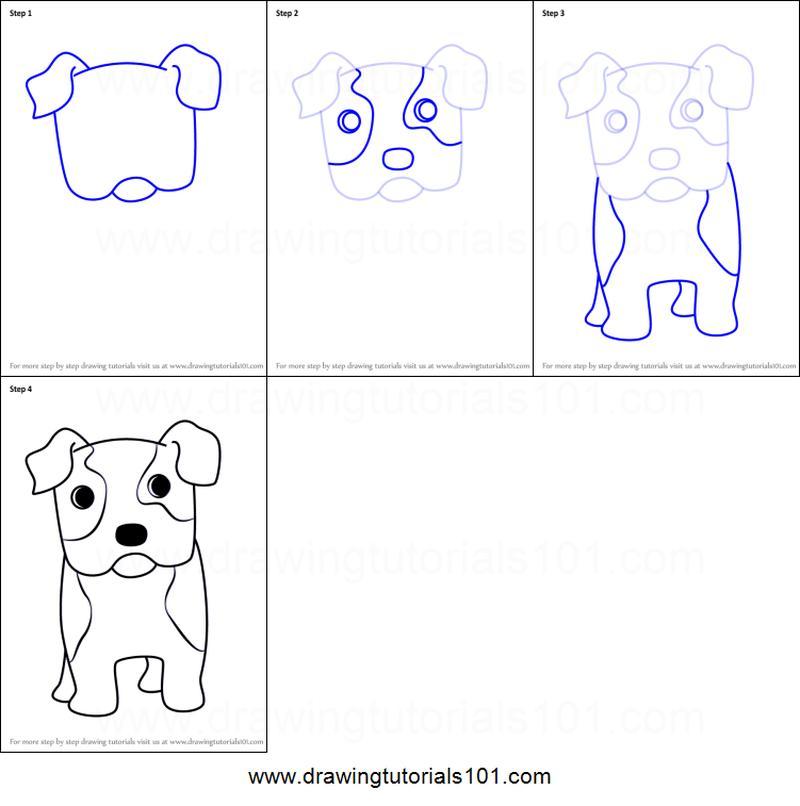 dibujo fácil perro bulldog paso a paso a lápiz para colorear