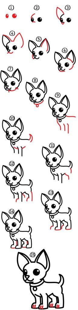 dibujos fáciles perro chihuahua paso a paso a lápiz para colorear