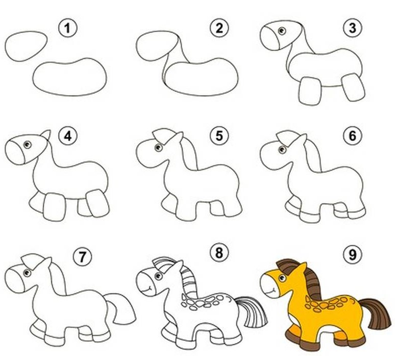 dibujo fácil de animal de granja a lápiz paso a paso caballo caballito tierno pony
